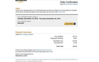 Amazon Order Confirmation Phishing Scam