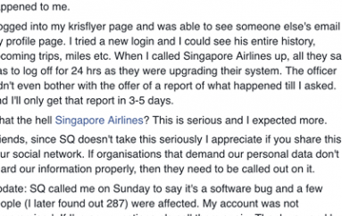 Singapore Airlines Software Bug Results in Breach