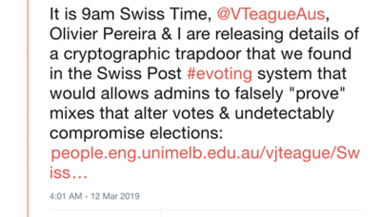 Source Code Error in Swiss Post E-Voting System