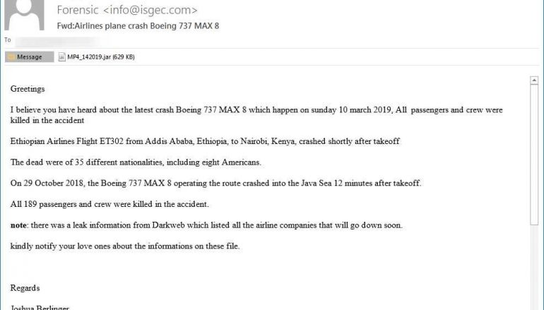 Experts Uncovered a Malspam Campaign using Boeing 737 Max Crashes