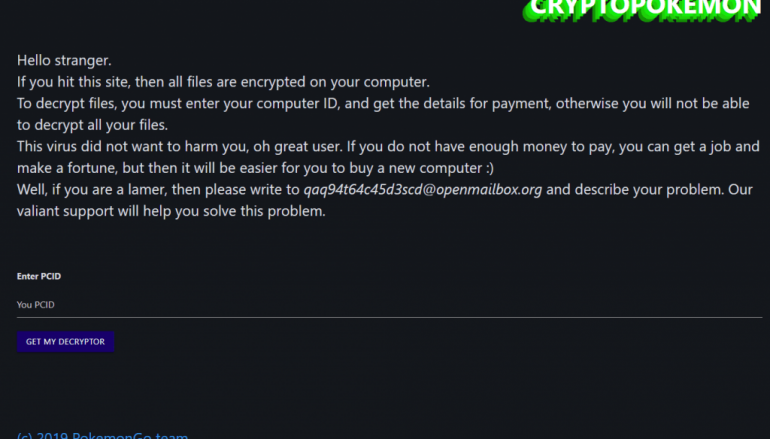 Emsisoft Released a Free Decryptor for CryptoPokemon Ransomware