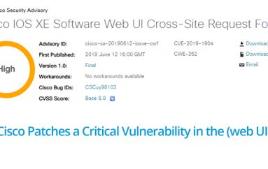 Cisco Patches Critical Vulnerability that allows Remote Attacker to Conduct CSRF Attack
