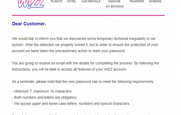 WizzAir Informed Customers It Forced a Password Reset On Their Accounts