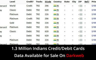 1.3 Million Indian's Credit/Debit Card Data Available to Sale on Underground Darkweb Market