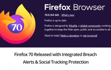 Firefox 70 Released: Added Integrated Breach Alerts, Social Tracking Protection & Fixed 9 Security Bugs