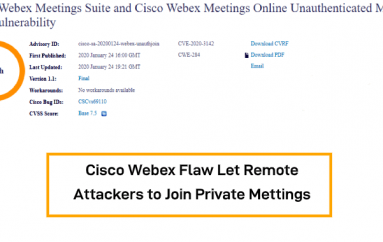 Cisco Webex Flaw Let Unauthenticated Remote Attackers to Join Private Meetings Without Password