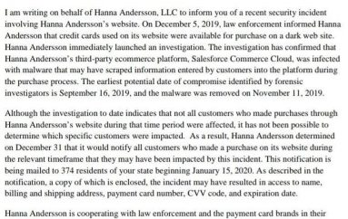 US-based Children's Clothing Maker Hanna Andersson Discloses a Data Breach