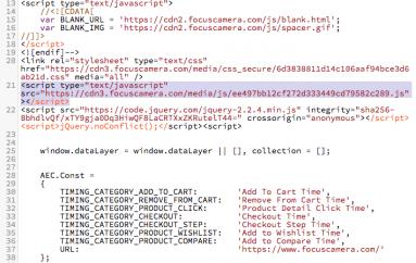 MageCart Gang Compromised Popular Focus Camera Website