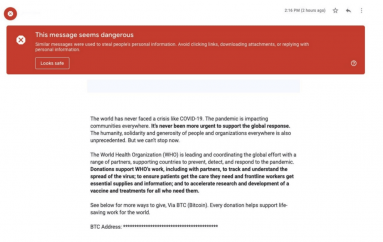 Gmail Blocked 18 Million Phishing and Malware Emails Using COVID-19 Lures in a Week