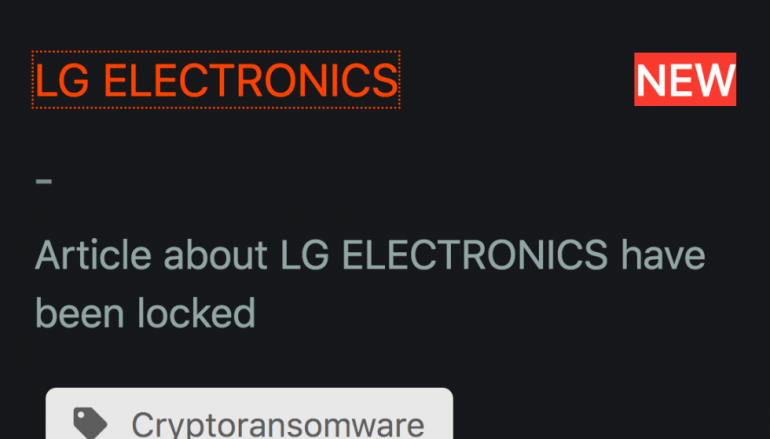 Maze Ransomware Operators Claim to have Breached LG Electronics
