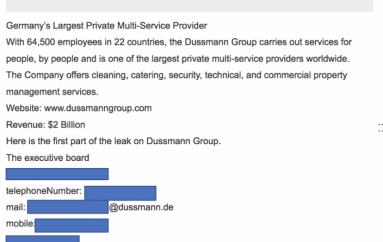 Nefilim Ransomware Operators Leaked Data Alleged Stolen from the Dussmann Group