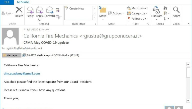 Emotet Malware Employed in Fresh COVID19-themed Spam Campaign