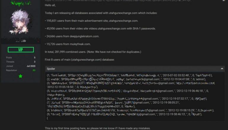 Threat Actor Leaked Data for U.S. Gun Exchange Site on Hacking Forum